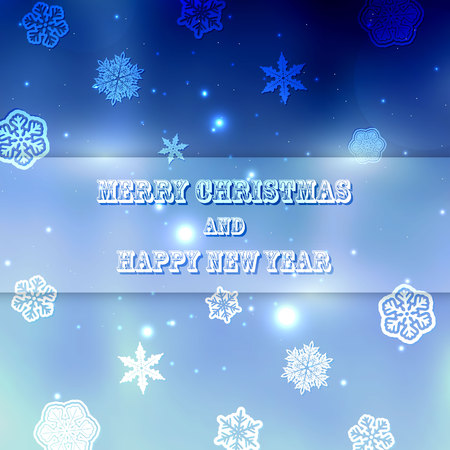 marry christmas: New year blue blurred background with snowflakes with text Marry Christmas And Happy New Year