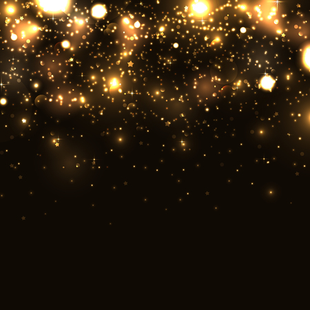 gold banner: Shiny sparkles on black background Illustration
