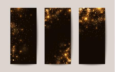 Shiny sparkles on black background. Templates for flyers Stock Illustratie