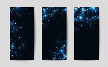 shiny background: Shiny sparkles on black background. Templates for flyers Illustration