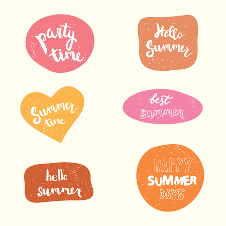 party time: Summer stickers set. party time, hello summer, summer time, best summer, happy summer days. Illustration