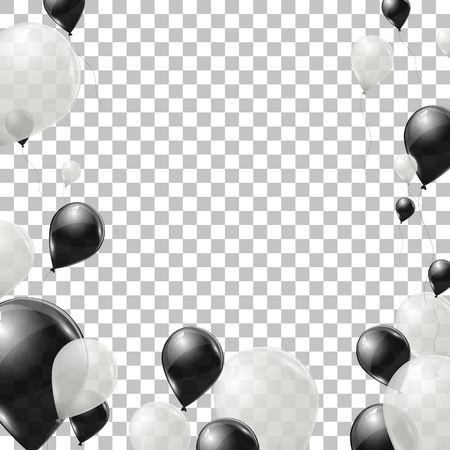 helium: Black and white helium balloons on transparent background. Flying latex ballons. Vector illustration. Illustration