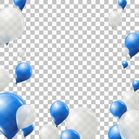 palloncini blu e bianco su sfondo trasparente. Volare impulsi del lattice. Illustrazione vettoriale.