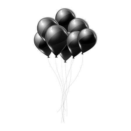 Black helium balloons on white background. Flying latex ballons. Vector illustration.