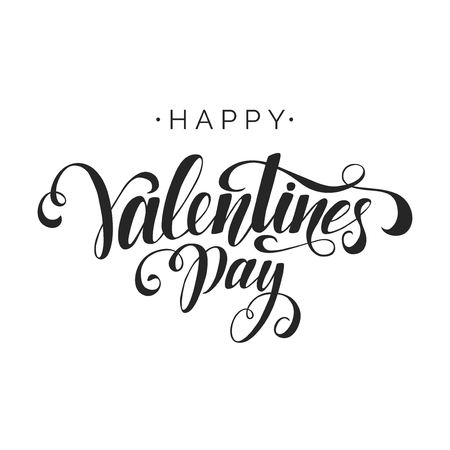 Happy Valentine's Day vector lettering inscription on white background. Handwritten design elements. Valentine's Day typography. Hand drawn clipart. Isolated typography print for card, poster, flyer.