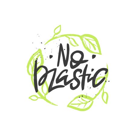 No plastic vector handwritten quote, brush lettering inscription. Zero waste concept. Isolated typography print for card, poster, banner, products. Illustration