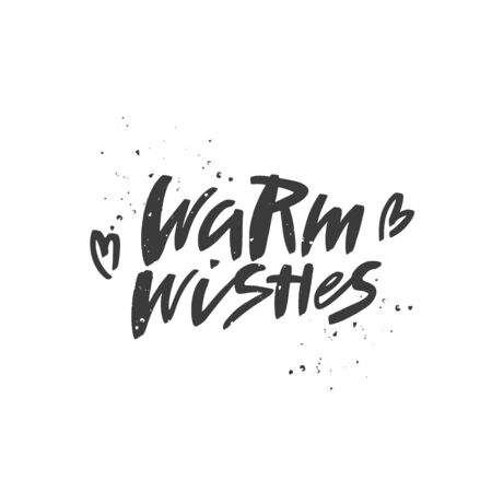 Warm wishes brush lettering. Handwritten Christmas typography print for flyer, poster, card, banner. Hand drawn decorative design element. Vector illustration.