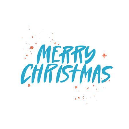 Merry Christmas brush lettering. Handwritten Christmas typography print for flyer, poster, card, banner. Hand drawn decorative design element. Vector illustration. Ilustrace