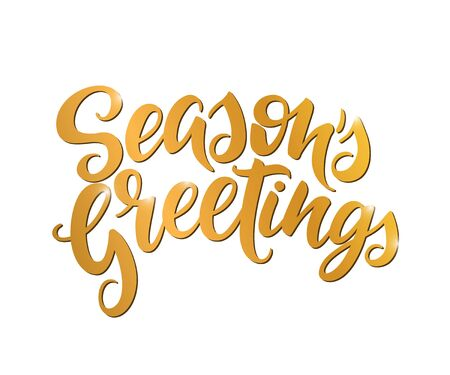Seasons Greetings vector calligraphy. Isolated typography print. Handwritten lettering inscription.