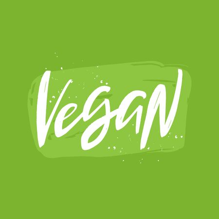 Vegan vector brush lettering inscription. Handwritten quote. Vegan lifestyle. Isolated typography print. Stock Illustratie