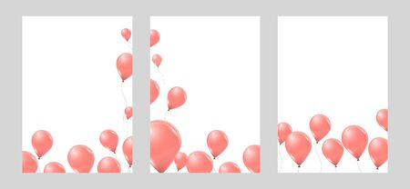 Set of banners with pink helium balloons on white background. Flying latex 3d ballons. Vector illustration. Stock Illustratie