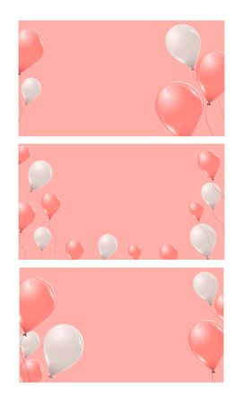 Set of  banners with pink and white helium balloons on pink background. Flying latex 3d ballons. Vector illustration.