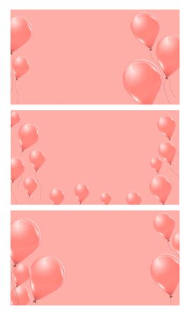 Set of pink helium balloons on pink background. Flying latex 3d ballons. Vector illustration.