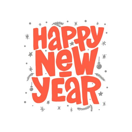 Happy New Year vector lettering clip art isolated on white background. Handwritten poster or greeting card. New Year typography. Çizim