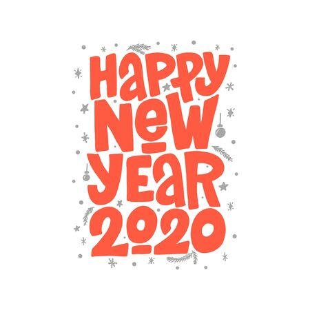 Happy New Year 2020 vector lettering clip art isolated on white background. Handwritten poster or greeting card. New Year typography.