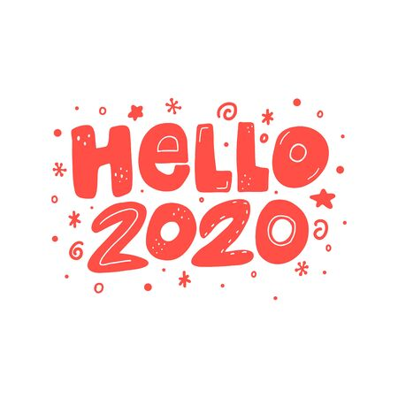 Hello 2020 vector New Year lettering clip art isolated on white background. Handwritten poster or greeting card. New Year typography.