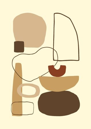 Abstract contemporary poster or card. Aestetic geometric collage background. Hand drawn composition, freehand organic shapes. Vector.