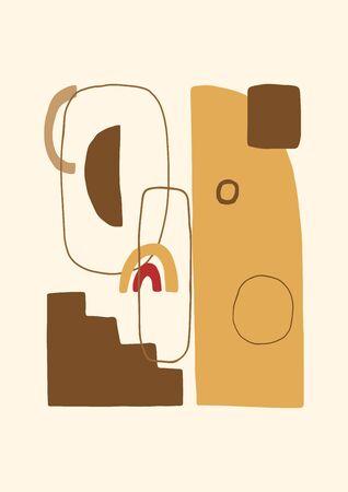 Abstraktes zeitgenössisches Plakat oder Karte. Ästhetischer geometrischer Collagenhintergrund. Handgezeichnete Komposition, freihändige organische Formen. Vektor.