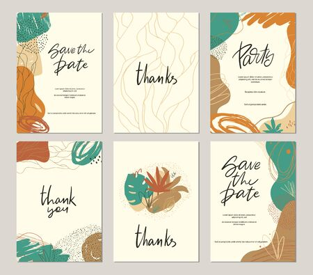 Set of vector hand drawn abstract collage templates for poster, invitation, save the date, wedding, birthday party, baby shower card. Contemporary art objects, doodle elements.