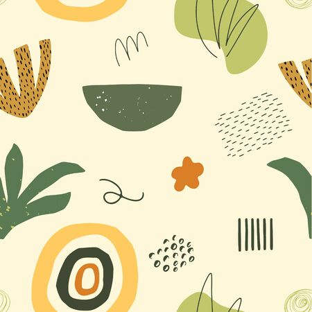 Abstract vector doodle seamless pattern. Hand drawn shapes, objects and textures in contemporary style. Floral autumn background.