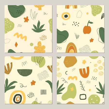 Set of abstract doodle seamless patterns. Hand drawn shapes, objects and textures in contemporary style. Floral autumn background. Vector.