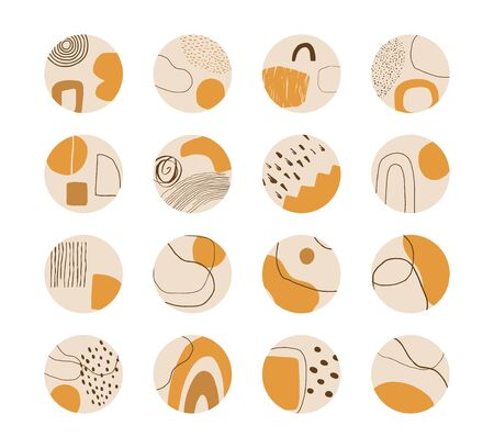 Set of hand drawn abstract collage templates for social media highlights. Contemporary art objects, doodle elements. Vector.