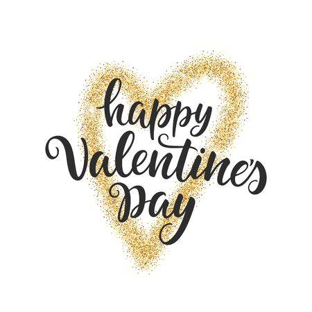 Happy Valentine's Day script lettering inscription isolated on white background. Handwritten quote. Calligraphy for Valentine's Day card, poster, banner.
