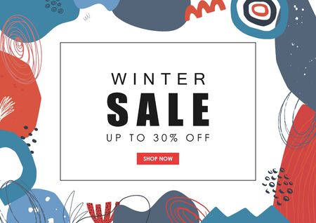 Winter sale web banner. Hand drawn abstract background. Vector illustration.