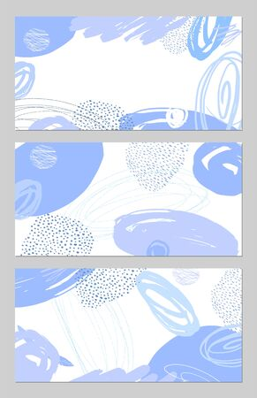 Set of abstract banners. Hand drawn artistic background. Vector illustration.