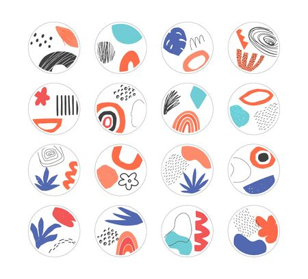 Set of hand drawn abstract collage templates for social media highlights. Contemporary art objects, doodle elements. Vector illustration.