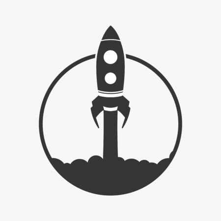 Rocket icon isolated on white background. Vector.