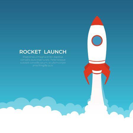 Rocket launch, spaceship. Start up concept. Vector illustration.