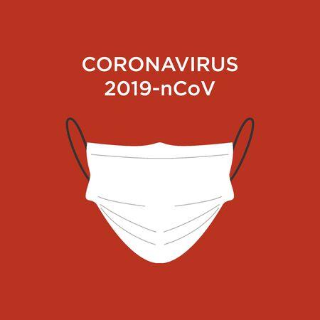 White medical mask. Novel coronavirus. Vector.