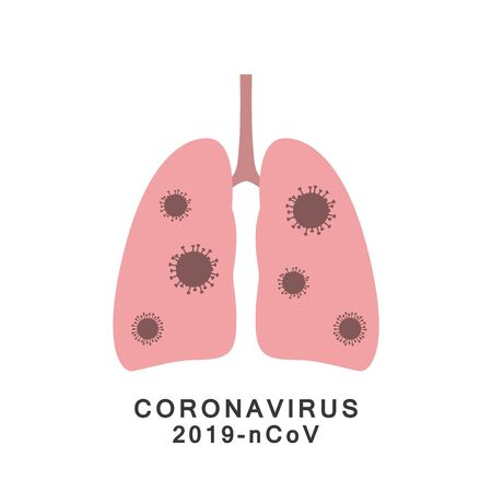 Lungs with virus. Novel coronavirus 2019-ncov. Vector.