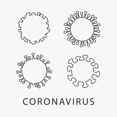 Vector set of coronavirus outline icons isolated on white background. Vector.