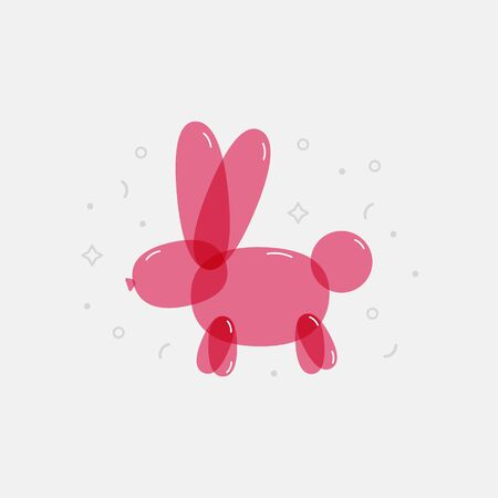Colorful balloon bunny. Bright decorative element for kids party, birthday, graphic print. Vector. 矢量图像