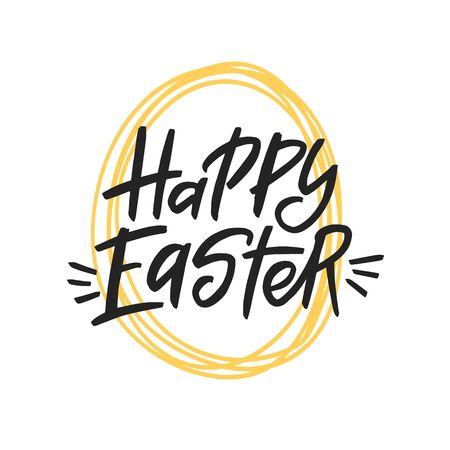 Happy Easter brush lettering inscription isolated on white background. Handwritten typography print. Vector illustration.