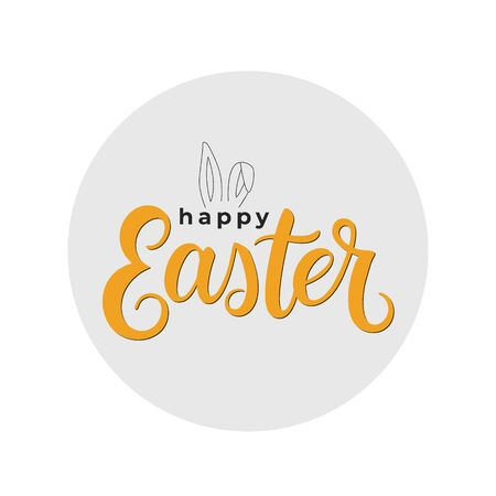 Happy Easter brush calligraphy inscription isolated on white background. Handwritten typography print. Vector illustration.