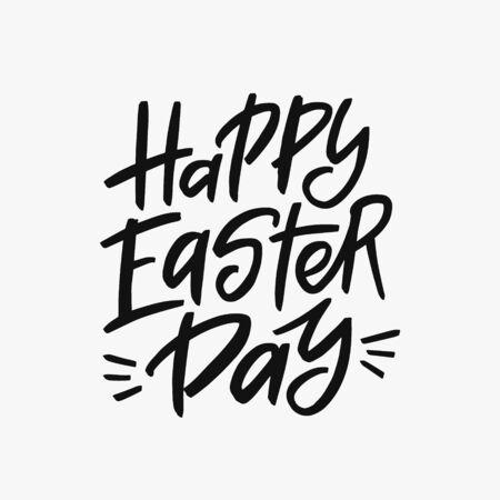 Happy Easter Day brush lettering inscription isolated on white background. Handwritten typography print. Vector illustration. 矢量图像