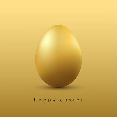 Golden Easter egg. Easter greeting card or poster template. Vector. 矢量图像