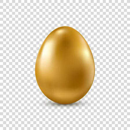 Golden realistic Easter egg isolated on transparent background. Vector. 矢量图像