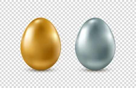 Golden and silver realistic Easter eggs on transparent background. Vector. 矢量图像