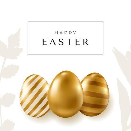 Easter banner. Realistic golden vector eggs on white background. Easter design elements.