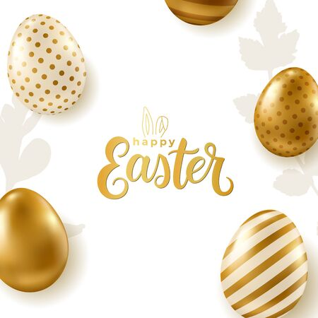Easter banner. Realistic golden vector eggs on white background. Happy Easter calligraphy.