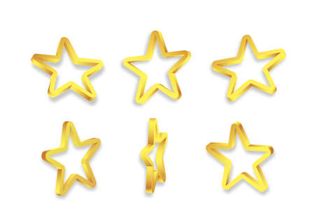 Shiny golden 3d stars isolated on white background. Vector. 矢量图像