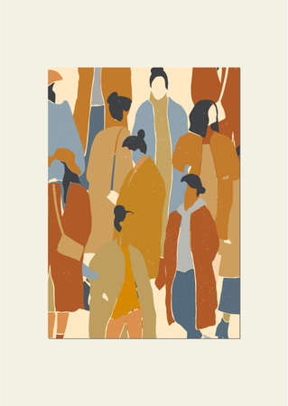 Crowd of woman background. Fashion winter, autumn or spring outfits. Minimalistic flat card or poster with natural texture. Vector illustration. 矢量图像