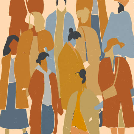 Crowd of woman background. Fashion winter, autumn or spring outfits. Minimalistic flat illustration with natural texture. Vector illustration.