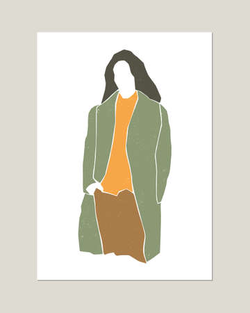 Minimalistic fashion woman silhouette portrait. Autumn, winter or spring concept. Natural texture. Print for poster, card. Vector.