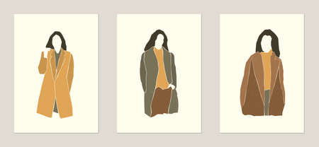 Set of flat minimalistic fashion woman silhouette. Autumn, winter or spring concept. Natural texture. Print for poster, card. Vector.
