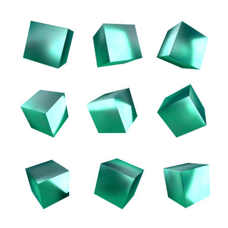 3d cubes on white background. Realistic design elements, three-dimensional objects. Metallic texture. Vector. Illusztráció